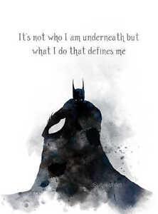 ART PRINT Batman Quote illustration Superhero Movie Wall Art Home Decor