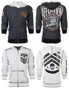 AFFLICTION-Men-HOODIE-Sweat-Shirt-ZIP-UP-Jacket-REVERSIBLE-Sidecar-BIKER-UFC-98