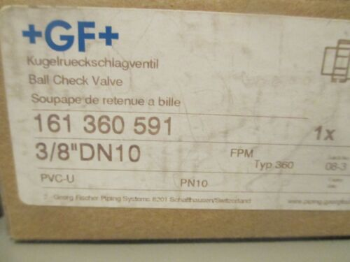 "Georg Fischer 161 360 591 3//8/"" Ball Check Valve"