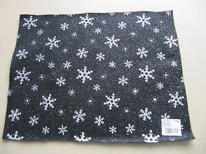 Christmas-Black-Felt-Sheet-with-Silver-Glitter-Snowflakes-Acrylic-A4