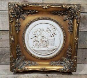 Antique Enrico Braga Italian Marble Relief Cherub Plaque Gilt Frame
