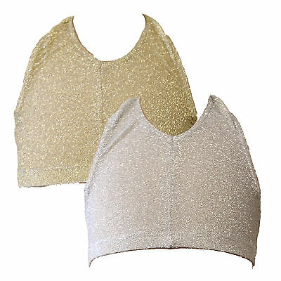 SALE NEW GOLD/SILVER LUREX SLEEVELESS V NECK HALTER BACK CROP TOP - CHILD SIZES