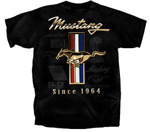 Ford-Mustang-T-shirt-Golden-Tribar-logo-great-gift-Boss-Shelby-GT-mach1