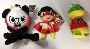 Complete-Set-of-3-NEW-Ryan-s-World-Combo-Panda-Ryan-Gus-Plush-12-inches-tall