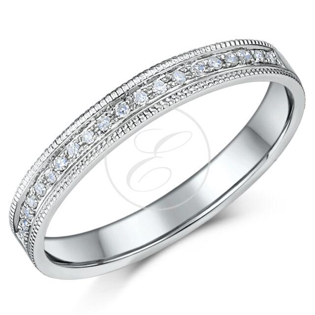 9ct White Gold .10ct Diamond & Milgrain Ring 3mm