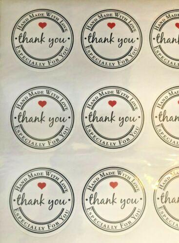 MADE WITH LOVE STICKERS WHITE KRAFT PRINTED STICKER LABELS QTY 60HYT