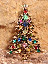Book Piece HOLLYCRAFT Christmas Tree Pin Swarovski Crystal Rhinestones