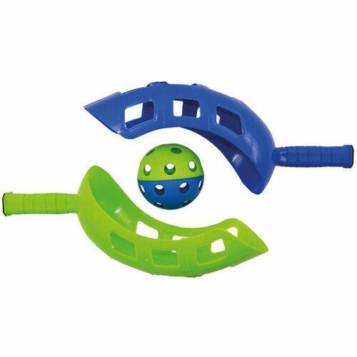 Fangball Spiel grün blau 3 teilig 2x Fangschläger blau//grün 1 x Kunststoffball