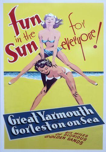 Vintage Great Yarmouth Gorleston on Sea Norfolk Tourism Poster Print A3//A4