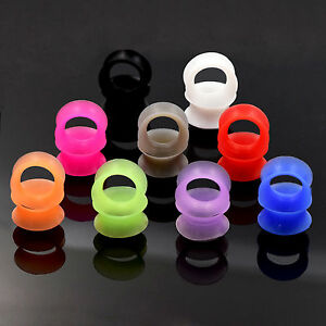 9 Pairs Thin Hollow Silicone Skin Flexible Flesh Tunnel Ear Plugs Expander Gauge