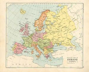 1891 Victorian Map Europe Political British Isles Spain Italy