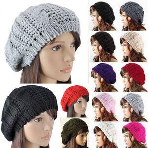 Warm Winter Women Hat Beret Braided Baggy Knit Crochet Beanie Ski Cap