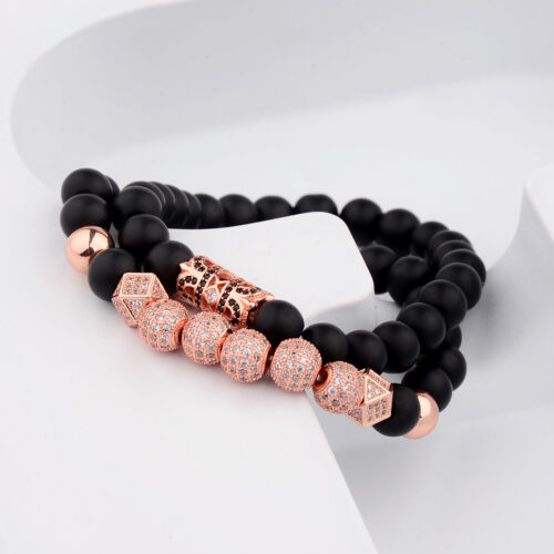 Hommes Luxe or Rose 8 mm mat Perles Couronne Zircone Cubique Zircon Boules Main Bracelets