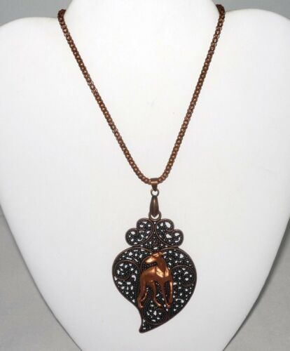 Copper Neckl Copper Stylized Leaf Pendant w Looking Back Greyhound //Whippet Dog