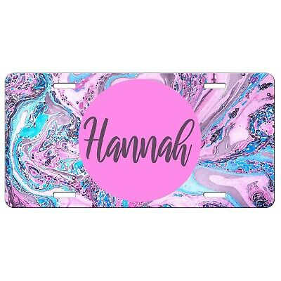 Made-to-Order Monogram License Plate Pink and Teal Marble Design