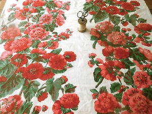 Vintage Hollyhock Floral Cotton Fabric ~ Red Pink White