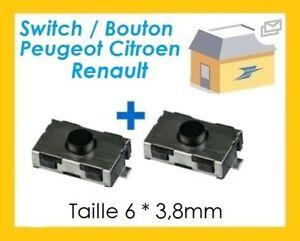 Switch-bouton-cle-telecommande-plip-Peugeot-106-206-306-307-406-Citroen-C5-C3-x2