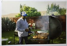 Vintage PHOTO Gentleman Flipping BBQ Chicken On The Grill In Backyard