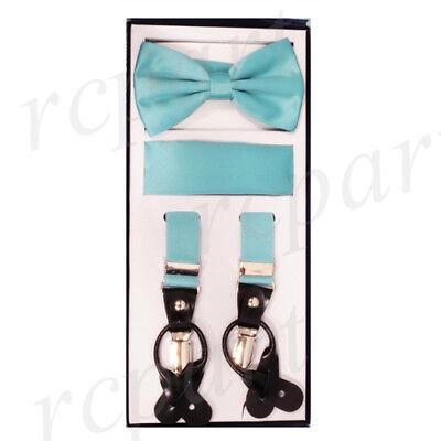 New in box Convertible Elastic Strap Suspender/_Bowtie Hankie Leopard Black Brown