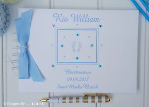 PERSONALISED-034-BABY-FEET-034-CHRISTENING-GUEST-BOOK-PHOTO-SCRAPBOOK