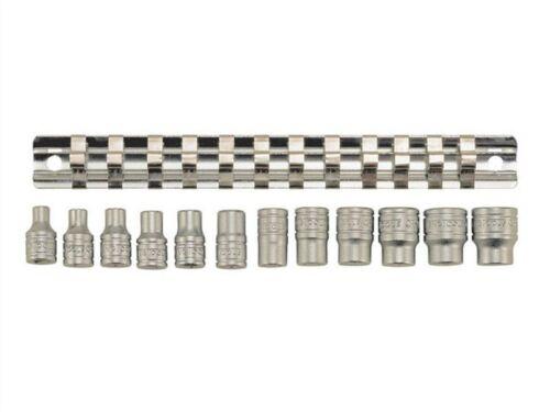 "Teng Tools 1//4/"" Square Drive 12 Piece Metric MM Socket Clip Rail Tools Set M1412"