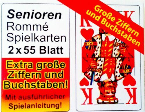 6x55-12x55 Blatt SPIELKARTEN ROMMÉ KARTEN  GROßE ZIFFERN FÜR SENIOREN Neu OVP.