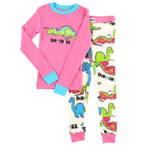 LazyOne Girls Dino-Snore Kids PJ Set Long Sleeves
