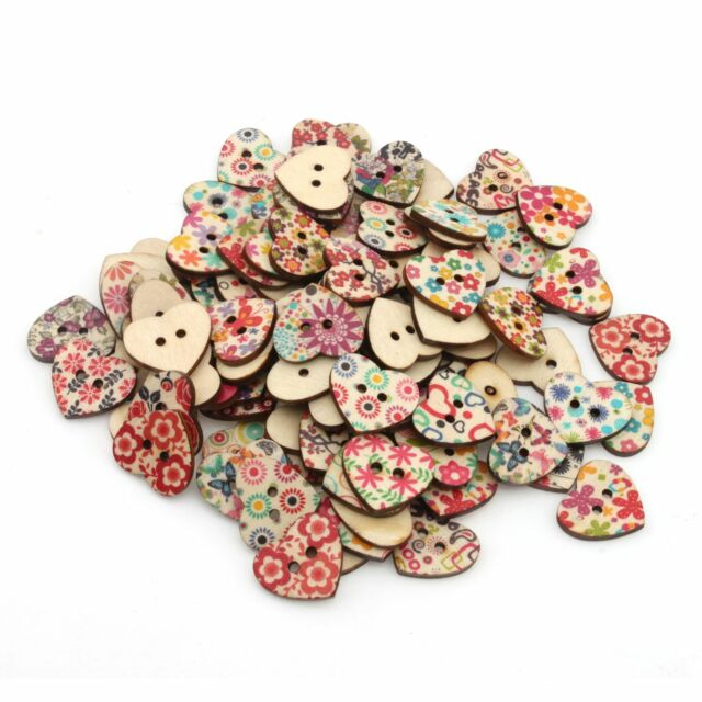 100pcs Mixed Printed Flower 2 Holes Heart Wood Sewing Button Scrapbooking 111621