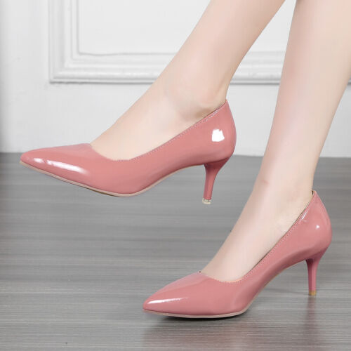 Women Kitten Heel Wedding Bridal Shoes Pointy Toe Stiletto Nightclub Party Pumps
