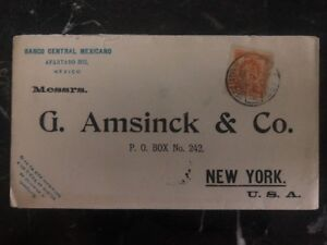1906-Mexico-Central-Bank-Printed-Matter-Cover-To-Amsinck-amp-Co-New-York-USA