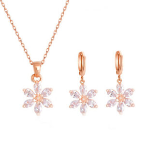 Fashion-18k-Rose-Gold-Plated-Clear-CZ-Woman-Flower-Necklace-Earrings-Jewelry-Set