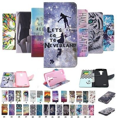 For LG Phones Fashion Painted Flip PU Leather Card Wallet Case Cover Pouch Stand