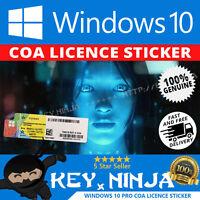 Windows 10 Pro Professional COA Licence Sticker (32/64bit OS Win10 Key)