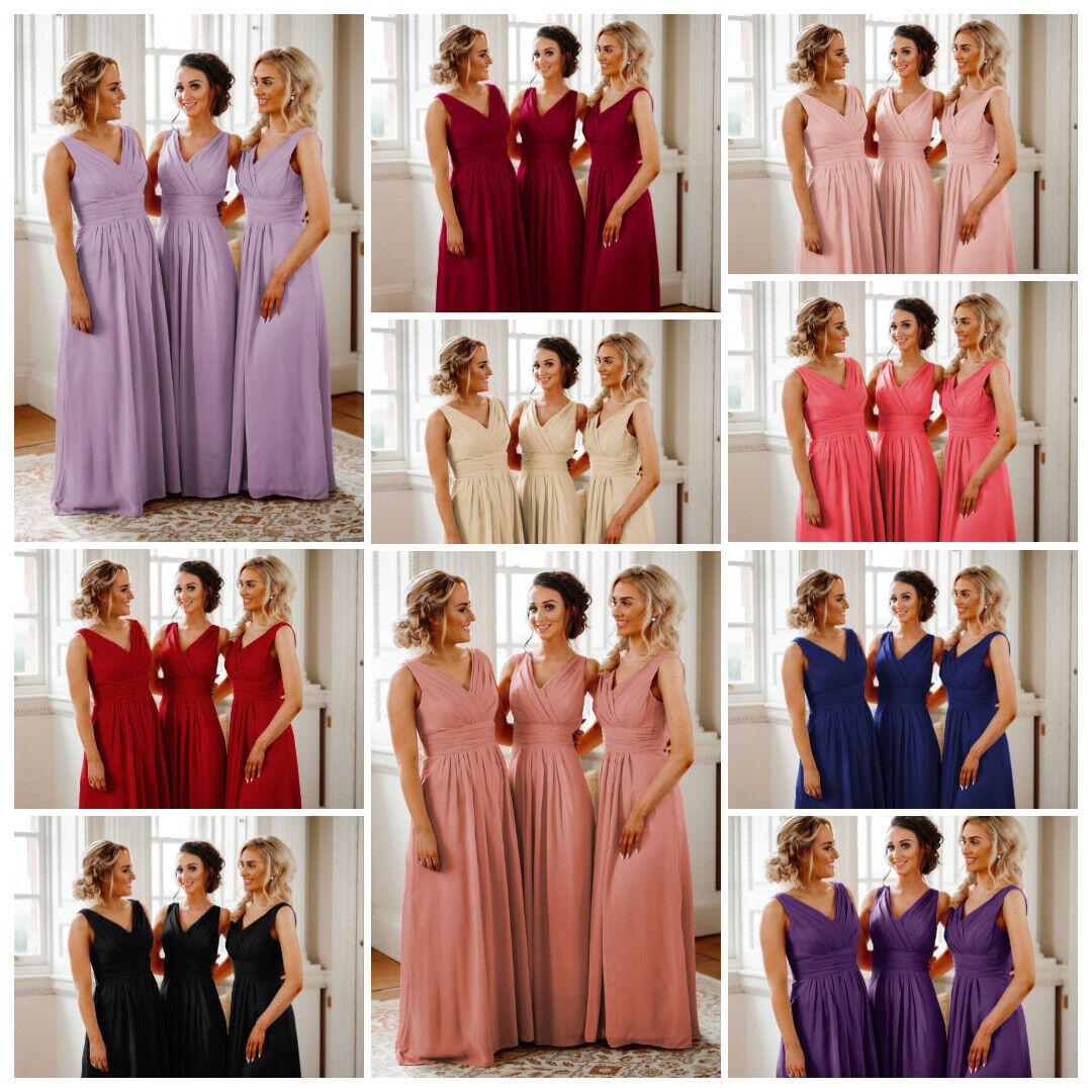 Woman's Chiffon V Neck Bridesmaid Maxi Dresses Wedding Party Long Ball Gown Uk