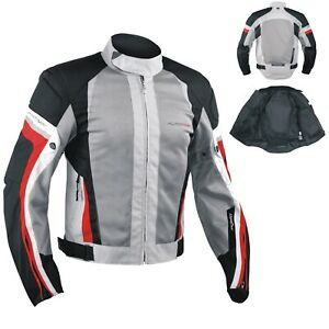 Summer-Motorbike-Mesh-Sport-RaceTouring-CE-Armored-Jacket-Motorcycle-Grey-Red-M