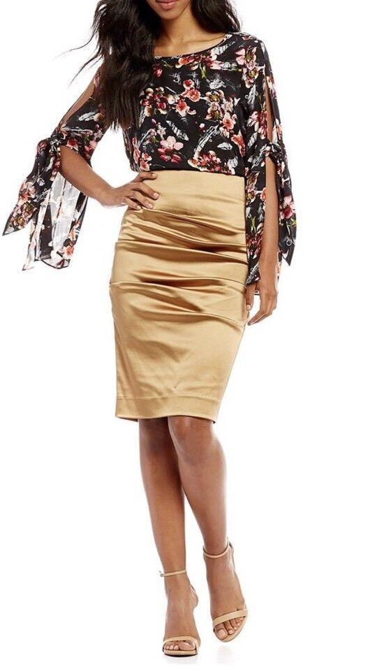 320 Nwt Nicole Miller  Artelier size 10 Metal Crinkled Pencil Skirt