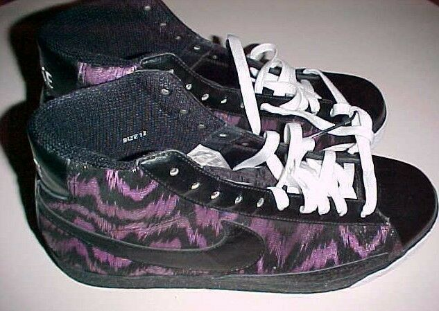 c79254ffa984 Nike Swoosh Black Purple Tiger Stripes Sneakers High Top Top Top Shoes US  Size 12 New