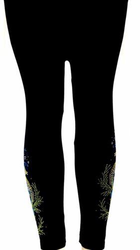 Regular or Plus Leggings Embellished Rhinestone Shimmering Seahorses Design