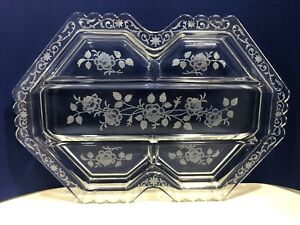 Vintage-Fostoria-Midnight-Rose-Etched-Glass-5-Part-Divided-Oblong-Relish-Dish