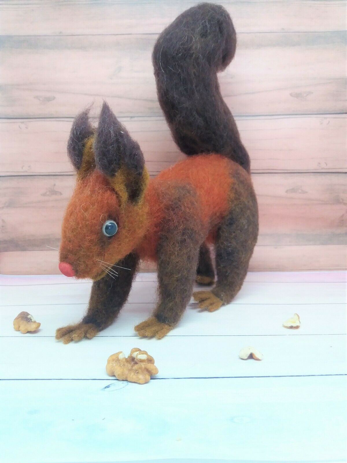 Wool toy Felted Squirrel 7.87 in Handmade brown toy Gift Merino wool Decoration