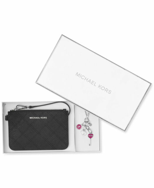 Michael Kors MICHAEL On-the-Go Black Wristlet & Keychain Boxed Gift Set BOXED