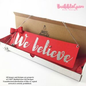 image is loading christmas sign we believe red silver glitter bow