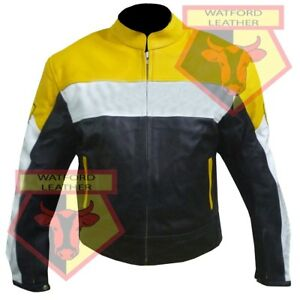 CUSTOM-0301-YELLOW-MOTORBIKE-MOTORCYCLE-BIKERS-COWHIDE-LEATHER-ARMOURED-JACKET