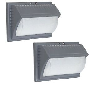 Two-Pack-Honeywell-Outdoor-LED-Security-Wall-Light-Dusk-to-Dawn-Aluminum-Gray