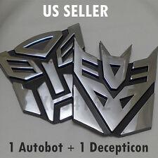 3D Chrome 1 Autobot + 1 Decepticon 4 Inch Transformers Emblem Badge Decal Car