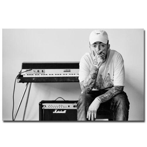 Mac Miller Rapper Hip Hop Music Singer Star Black White Poster HD Printed Canvas