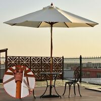 Adjustable 10 Ft Wooden Outdoor Umbrella Sunshade Restaurant Canopy Pool Plaza
