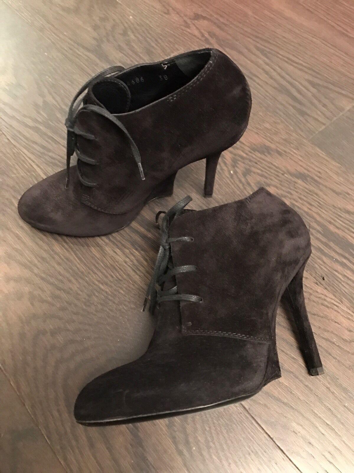 YSL 38 Mujeres Negro Gamuza FATALE Tobillo botas Talla 38 YSL e4e456