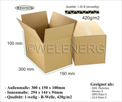 40 Faltkartons 300x150x100 mm B-420g//m2  Versandkarton Postkarton Falt Kartons