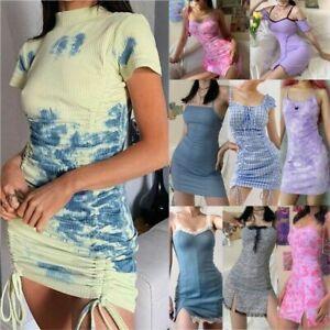 UK-Womens-Sexy-Tie-Dye-Short-Mini-Dress-Summer-Beach-Casual-Holiday-Sun-Dresses
